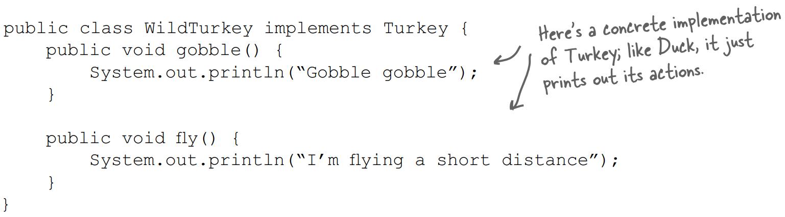 Lớp WildTurkey implements Turkeys
