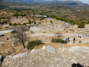 Photo: View from the top - the fortress, temples, and palace were perched on this hill. Mycenean time was 16th-11th centuries B.C.