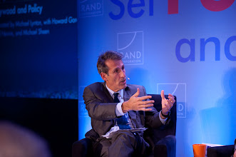 """Photo: Moderator Michael Lynton asks a question during the """"Hollywood and Policy"""" panel discussion Friday, Nov. 16 at the RAND Politics Aside event in Santa Monica."""