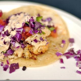 Healthy Fish Tacos with Cilantro Lime Crema.