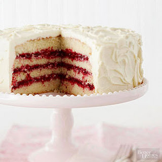 White Chocolate Layer Cake with Cranberry Filling Recipe