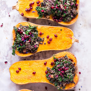 Holiday Stuffed Butternut Squash with Lentils and Kale.
