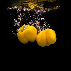 Yellow Bells by Mandeep Singh - Food & Drink Fruits & Vegetables ( canon, water, fruit, splash, yellow )