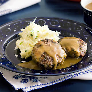 Beef and Bacon Patties with Cabbage Mash and Gravy.