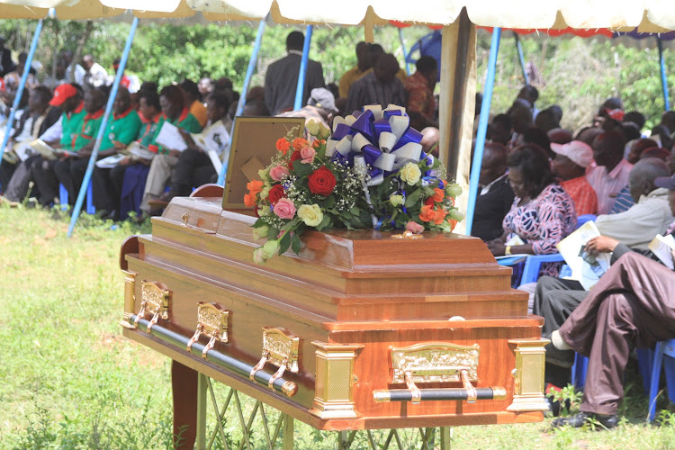 The casket carrying the body of the elephant attack victim-teacher Jackson Chepyegon, 40, who was buried at his Sessunin home in Barwessa ward, Baringo North Sub-county on Saturday.
