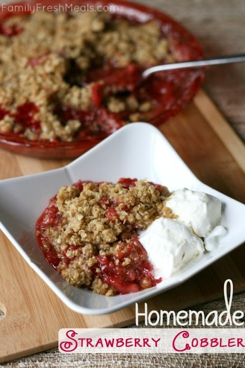 """Click Here for Recipe: Homemade Strawberry Cobbler """"One of my family's favorite..."""