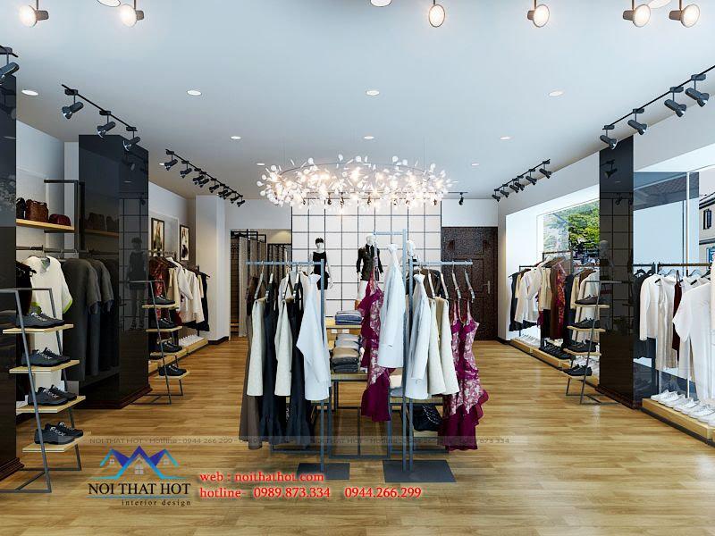 thiết kế shop thời trang rộng rãi