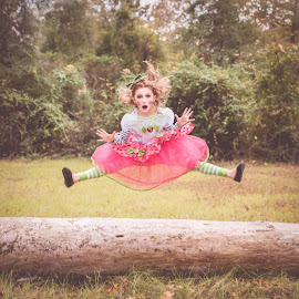 Doll Photoshoot  by Michele Dan - Babies & Children Child Portraits ( child, girl, doll, jumping, strawberry shortcake )
