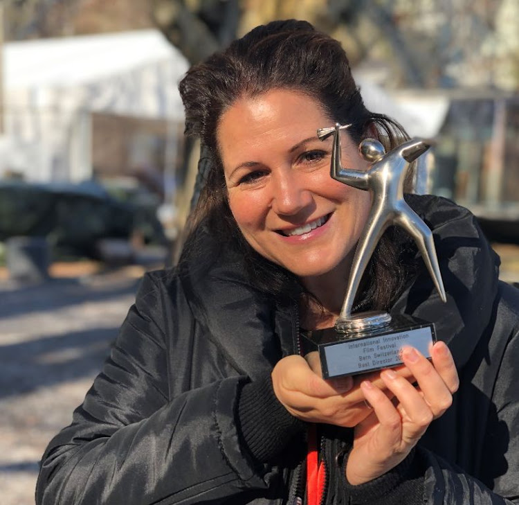 Uga Carlini with one of her two awards for the film 'Alison'