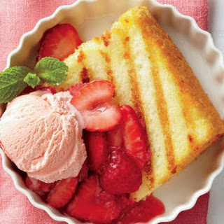 Grilled Angel Food Cake With Strawberry Sauce.