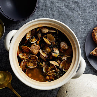 Steamed Clams with Kale and Chickpeas