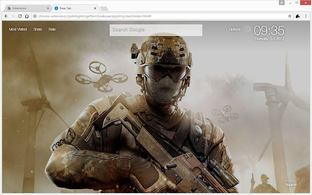 Install This CoD NewTab Themes To Get HD Wallpapers Of The Call Duty FPS Game Series In Every New Tab