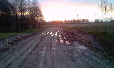 """Photo: Diena prieš pradedant grunto stabilizavimo darbus. Kelias į gamtos paminklą """"Karvės ola"""", Biržai."""