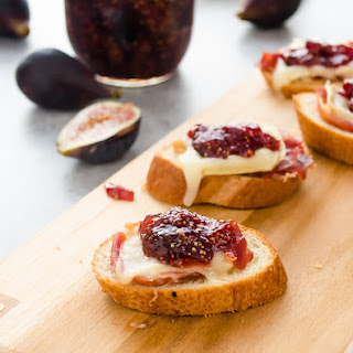 Brie, Fig Jam, and Serrano Ham Crostini