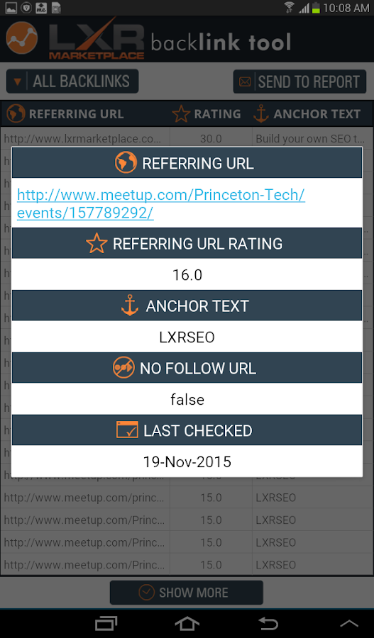 SEO Backlink Tool- screenshot