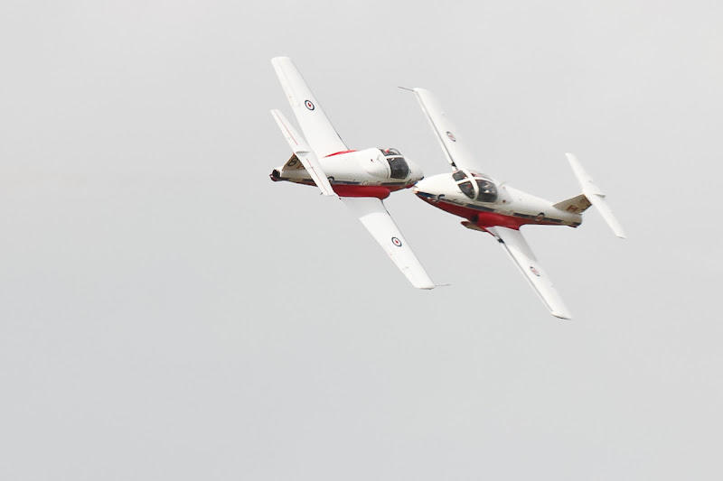 Photo: From the 2012 Waterloo Region air show. Two Snowbirds, approaching at ridiculous speeds...