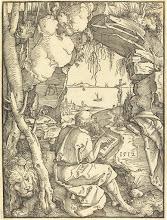 Photo: Albrecht Dürer (German, 1471 - 1528 ), Saint Jerome in a Cave, 1512, woodcut on laid paper, Robert A. McNeil Fund