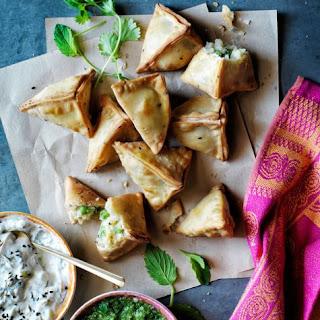 Potato and Pea Samosas with Cucumber Raita Recipe