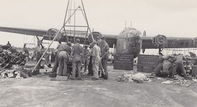 Photo: Working on first B-24 engine change...all four engines. Ft. Myers Air Base.  Ft. Myers, FL.  Spring 1942.