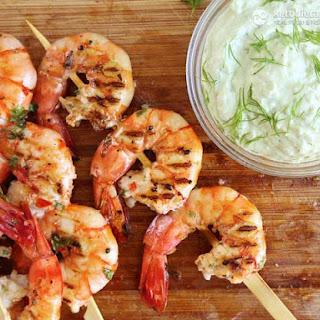 BBQ Prawn Skewers with Avocado Dip