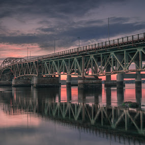 early october by Michael Otero - Buildings & Architecture Bridges & Suspended Structures ( clouds, singh ray, reflection, newington, nd, sunset, graduated nd, neutral density, bridge, new hampshire )