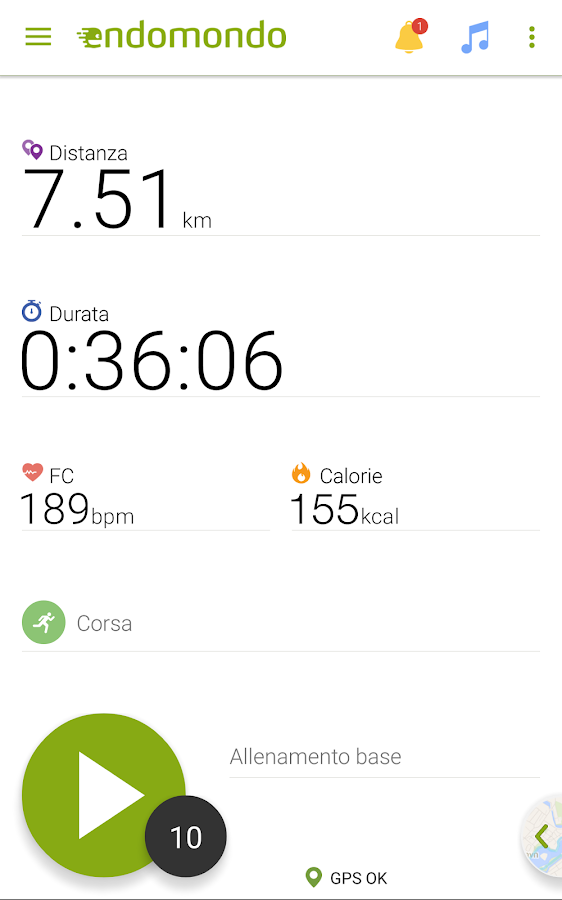 Endomondo - Corsa Ciclismo MTB- screenshot