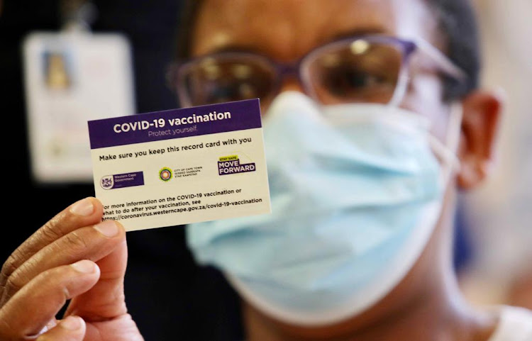 The record card issued to health workers who had their Covid-19 vaccinations in the Western Cape. File photo.