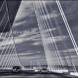 Gateway To San Ramon by Satyaki De - Buildings & Architecture Bridges & Suspended Structures ( b&w, san, area, gateway, bay, bridge, ramon )