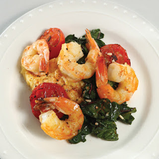 Shrimp and Chard Over Cheesy Grits with Oven-Roasted Tomatoes Recipe