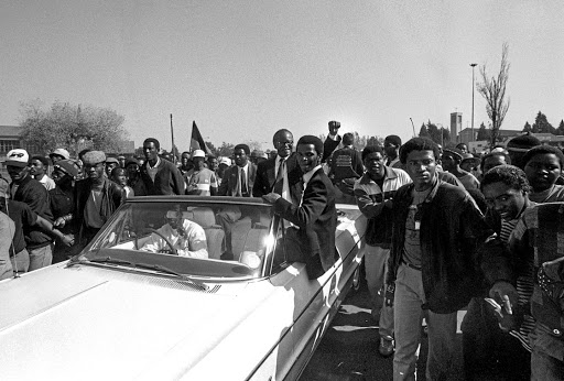 IN SOWETO Tambo arrives at the unveiling of Hector Pieterson's tombstone