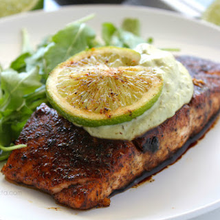 Brown Sugar Chili-Rubbed Salmon with Avocado Crema