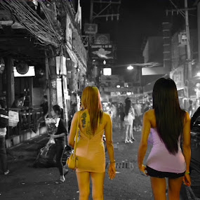 Ladies on Street by Kunal Kumar Maurya - City,  Street & Park  Street Scenes ( girls, black and white, street, girl back, street photography )
