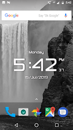 Waterfall digital clock live wallpaper APK screenshot thumbnail 4