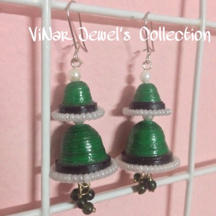Double Layer Jhumkas with Mini Pearl by Vinar Jewel