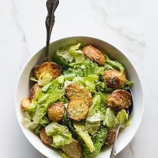 Roasted Potato Caesar Salad with Vegan Hemp Seed Dressing.