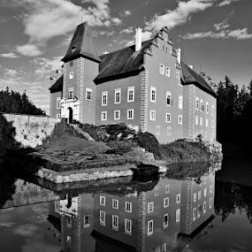*** by Katka Kozáková - Black & White Buildings & Architecture ( clouds, reflection, building, castle,  )
