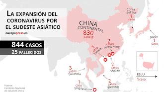 Mapa con casos de coronavirus en el sudeste asiático.