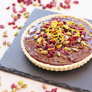 Chocolate Tart with Cranberries, Orange and Pistachios Recipe
