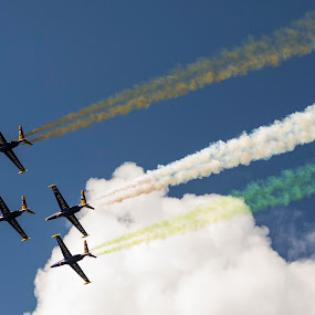 Green White & Gold by Helen Quirke  - Transportation Airplanes ( gold, airshow, green, white, co. limerick, foynes )