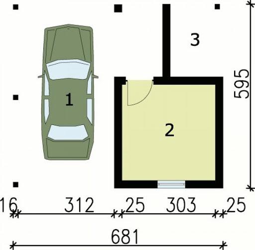 G29 wiata garażowa - Rzut garażu