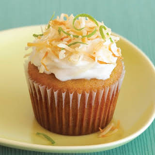 Gluten-Free Lime Cupcakes with Vegan Coconut Frosting.