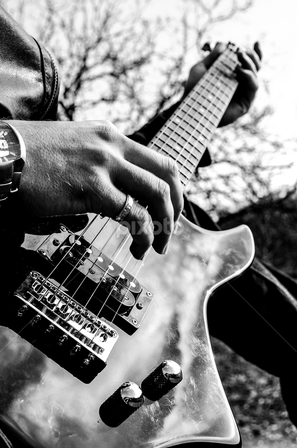 Sing by Alex Narcis - Artistic Objects Musical Instruments ( hand, music, musical, black and white, watch, outdoor, play, orange county choppers, guitar, strings, occ, electric guitar, object, instrument )