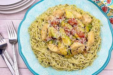 Chicken With Zucchini And Pesto Over Angel Hair Pasta Recipe