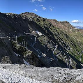 Passo Dello Stelvio by Jovica Panić - Landscapes Mountains & Hills ( motorbike, mountain, mountains, panorama, mountain village, panoramic, landscape, bike )