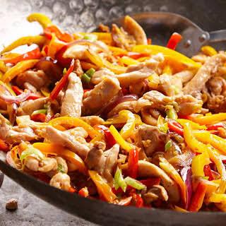 Cashew-Orange Chicken and Sweet Pepper Stir-Fry in Lettuce Wraps.