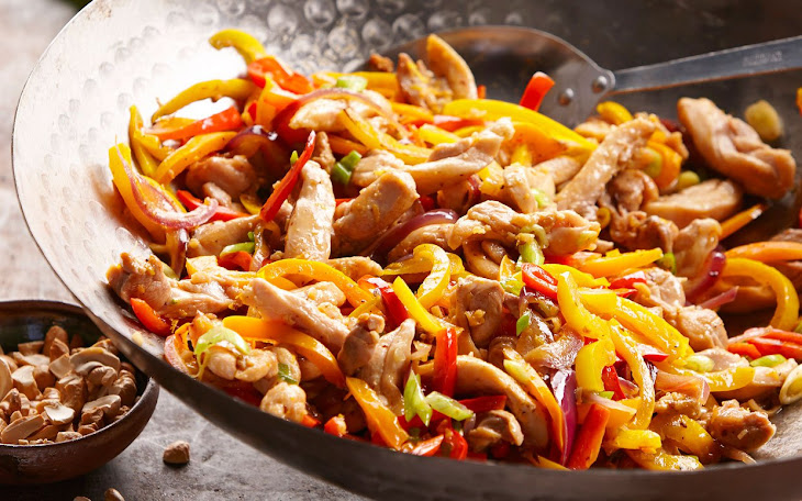 Cashew-Orange Chicken and Sweet Pepper Stir-Fry in Lettuce Wraps Recipe