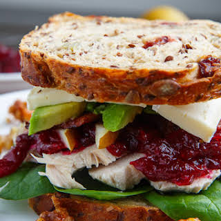 Turkey, Cranberry, Brie and Pear Sandwiches with Avocado and Bacon.