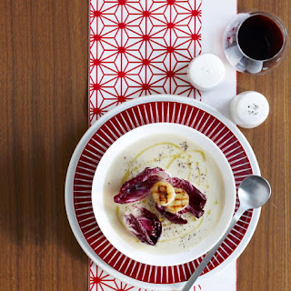 Potato and Artichoke Soup with Grilled Scallops.