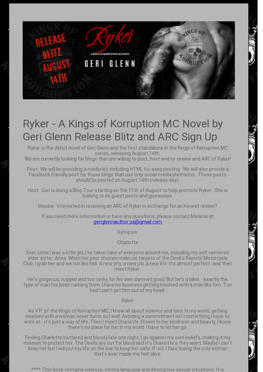 Ryker - A Kings of Korruption MC Novel by Geri Glenn Release Blitz and ARC Sign Up