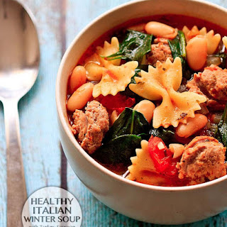 Healthy Italian Winter Soup with Turkey Sausage